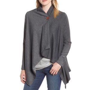 Bobeau | One-Button Fleece Wrap Cardigan